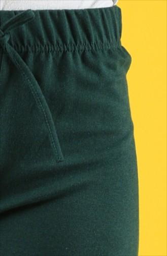 İki İplik Bol Paça Pantolon 8108-13 Zümrüt Yeşil