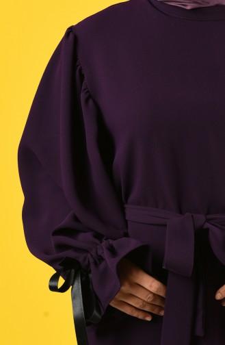 Balon Kol Tunik Pantolon İkili Takım 1421-03 Mor
