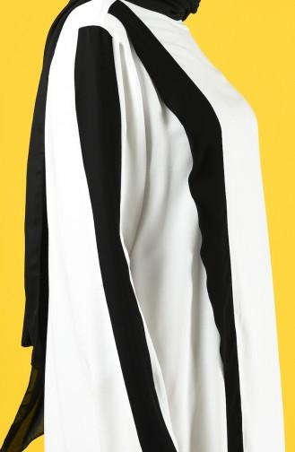Krep Tunik Pantolon İkili Takım 4600-01 Beyaz