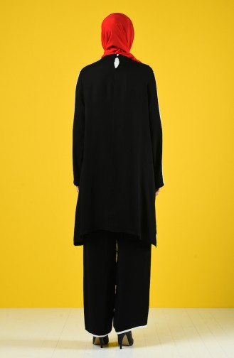 Crepe Tunic Trousers Double Set 4600-02 Black 4600-02