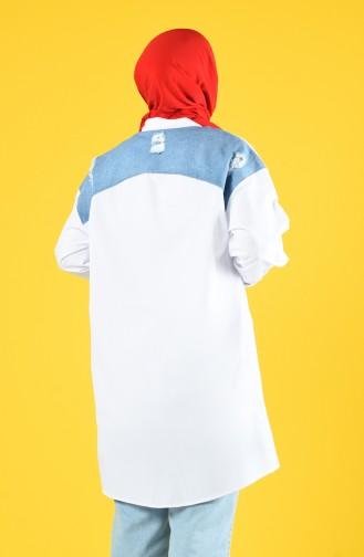 Garnili Tunik 1313-01 Beyaz