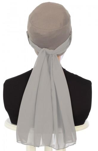 Chiffon Shawl Combed Bonnet B0036-2-4 Mink 0036-2-4