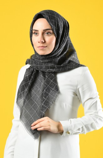 Square Patterned Cotton-like Woven Scarf 2465-18 Black 2465-18