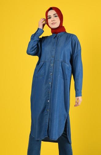 Lange Tunika mit Tasche 6240-06 Jeans Blau 6240-06
