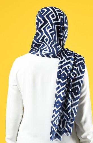 Elmina Geometric Patterned Shawl 860-06 Navy Blue White 860-06