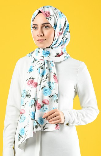 Flower Patterned Crepe Shawl 4640-01 Ecru Blue 4640-01