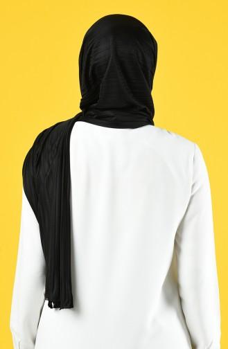 Pratik Likralı Krep Şal 7012-01 Siyah