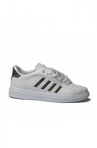 حذاء رياضي نسائي أبيض وفضي لامع داكن 30050-07