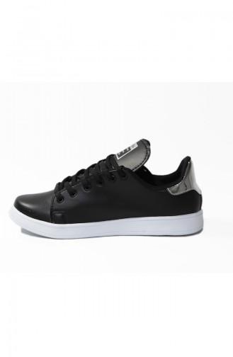 Bayan Spor Ayakkabı 40011-01 Siyah Gümüş