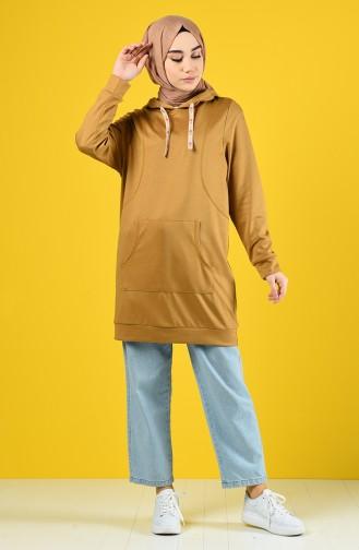 Sweatshirt à Capuche 8228-02 Moutarde 8228-02
