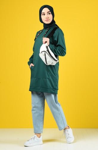 Sweatshirt mit Kapuze  8228-03 Smaragdgrün 8228-03