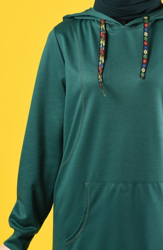 Sweatshirt à Capuche 8228-03  Vert émeraude 8228-03