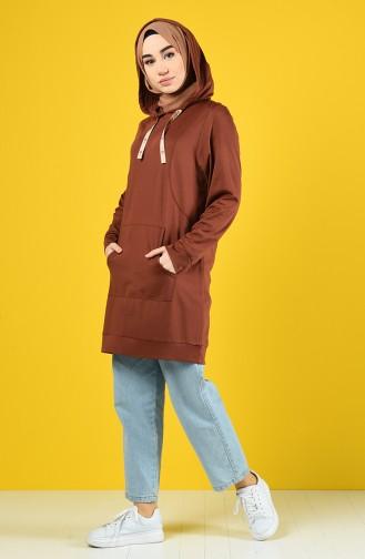 Kapüşonlu Sweatshirt 8228-05 Kahverengi