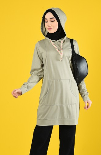 Sweatshirt mit Kapuze 8228-07 Grau Weiss 8228-07
