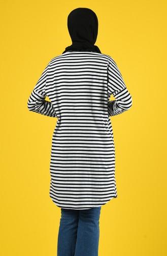 Çizgili Tunik 1270-01 Gri Siyah