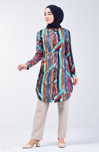 Patterned Viscose Shirt Tunic 1418-01 Indigo 1418-01