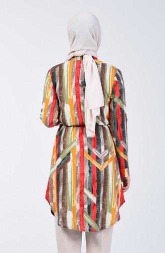 Desenli Viskon Gömlek Tunik 1418-03 Kırmızı