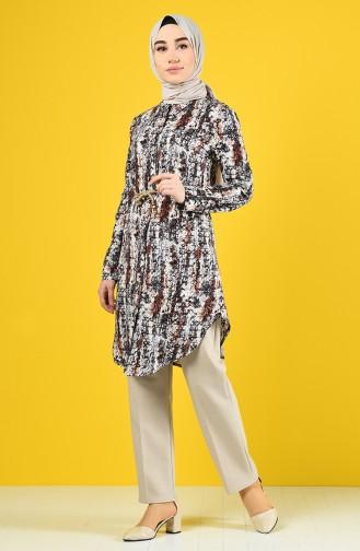 Patterned Viscose Shirt Tunic 1419-03 Purple 1419-03