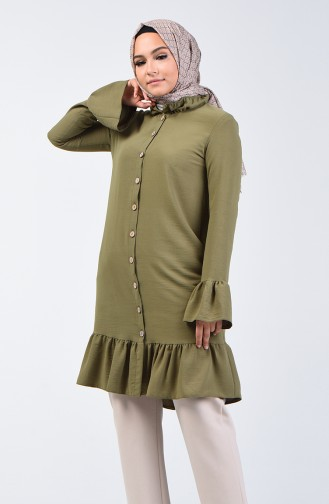 Aeroben Fabric Shirred Tunic 0079-02 Khaki 0079-02