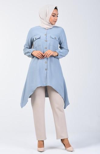 Asymmetrische Tunika mit Tasche   0081-01 Babyblau 0081-01