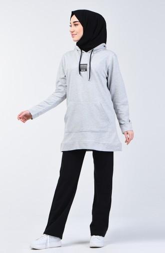 Printed Hooded Tracksuit 20010-06 Gray Black 20010-06