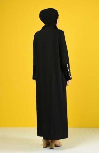 Payet Detaylı Krep Ferace 1080-01 Siyah