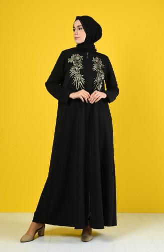 Abaya Brodée à Fermeture 1081-01 Noir 1081-01