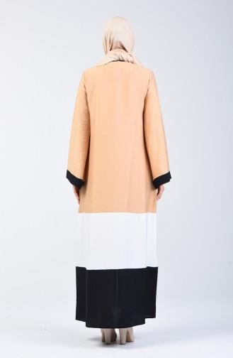 Abaya à Fermeture Tissu Aerobin 1084-01 Beige 1084-01