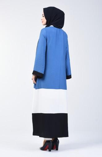 Aerobin Fabric Zippered Abaya 1084-02 Indigo 1084-02