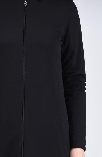 Abaya à Fermeture 3054-01 Noir 3054-01