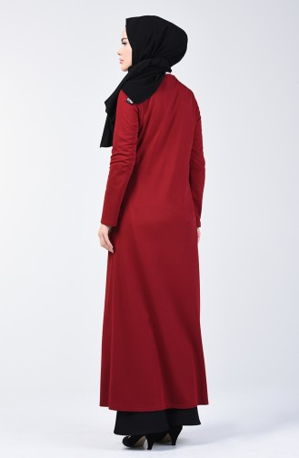 Zippered Abaya 3054-04 Burgundy 3054-04