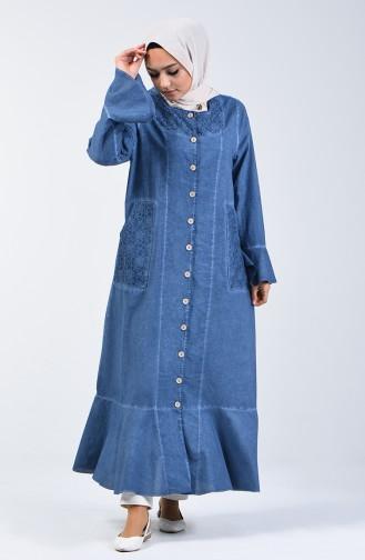 Şile Bezi Volanlı Ferace 8888-01 Kot Mavi