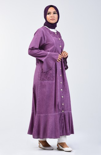 Marjoram Cloth Flounced Abaya 8888-06 Dark Rose Dry 8888-06