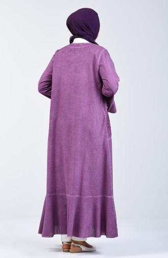 Şile Bezi Volanlı Ferace 8888-06 Koyu Gül Kurusu