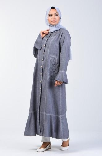 Gray Abaya 8888-08