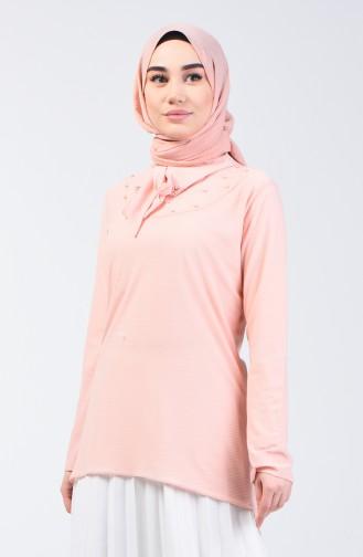 Pearled Asymmetric Shirt 1601-01 Salmon 1601-01
