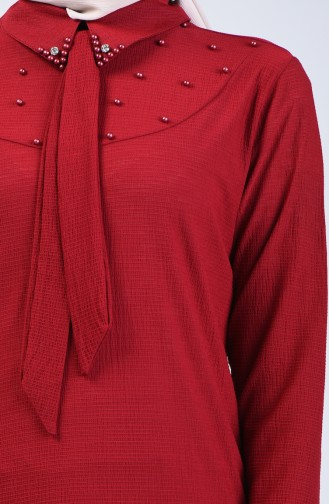 Pearled Asymmetric Shirt 1601-03 Claret Red 1601-03