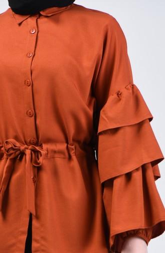 Beli Büzgülü Gömlek 1637-01 Kiremit