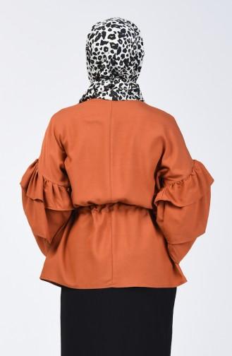 Tobacco Brown Overhemdblouse 1637-03