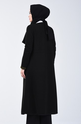 İki Renkli Uzun Hırka 8890-01 Siyah Haki