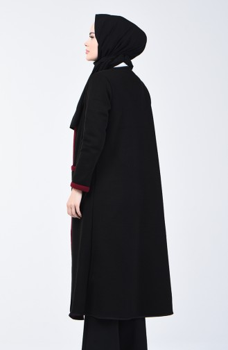 Two Colored Long Sweater 8890-02 Black Claret Red 8890-02