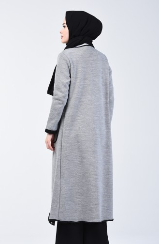 Two Colored Long Sweater 8890-04 Grey Black 8890-04