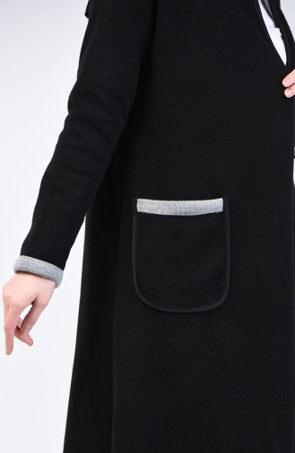 Two Colored Long Sweater 8890-05 Black Grey 8890-05