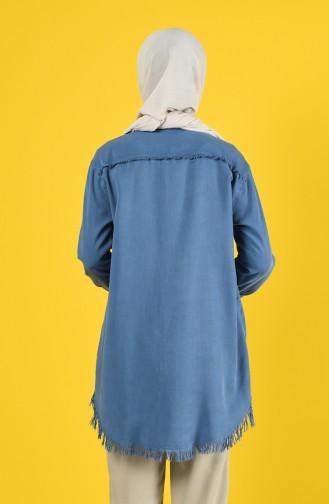 Sinnlicher Stoff Tunika mit Tasche 6303-03 Indigo 6303-03
