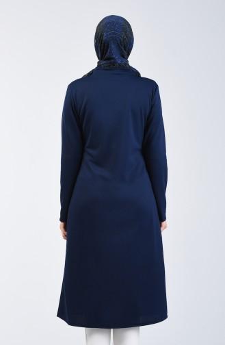 Zippered Coat 1621-04 Navy Blue 1621-04