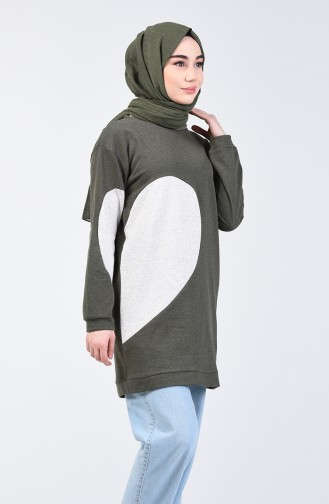 Heart Sweatshirt 3153-03 Khaki 3153-03