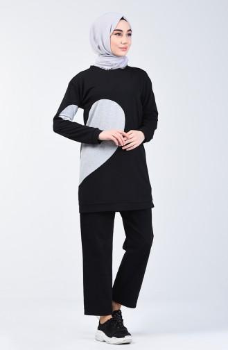 Kalpli Sweatshirt 3153-06 Siyah Gri