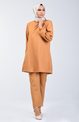 Kolu Lastikli Tuink Pantolon İkili Takım 1027A-04 Hardal