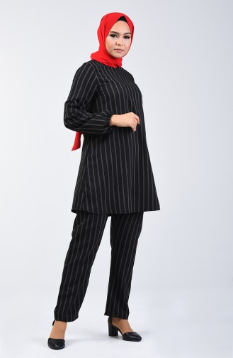 Balloon Sleeve Tunic Pants Double Suit 1027A-08 Black 1027A-08