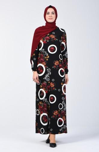 Gemustertes Kleid mit elastischer Arm  8864-01 Schwarz 8864-01